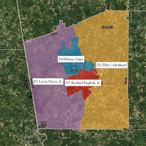 Troup County, Georgia : Commissioners Districts Interactive Map