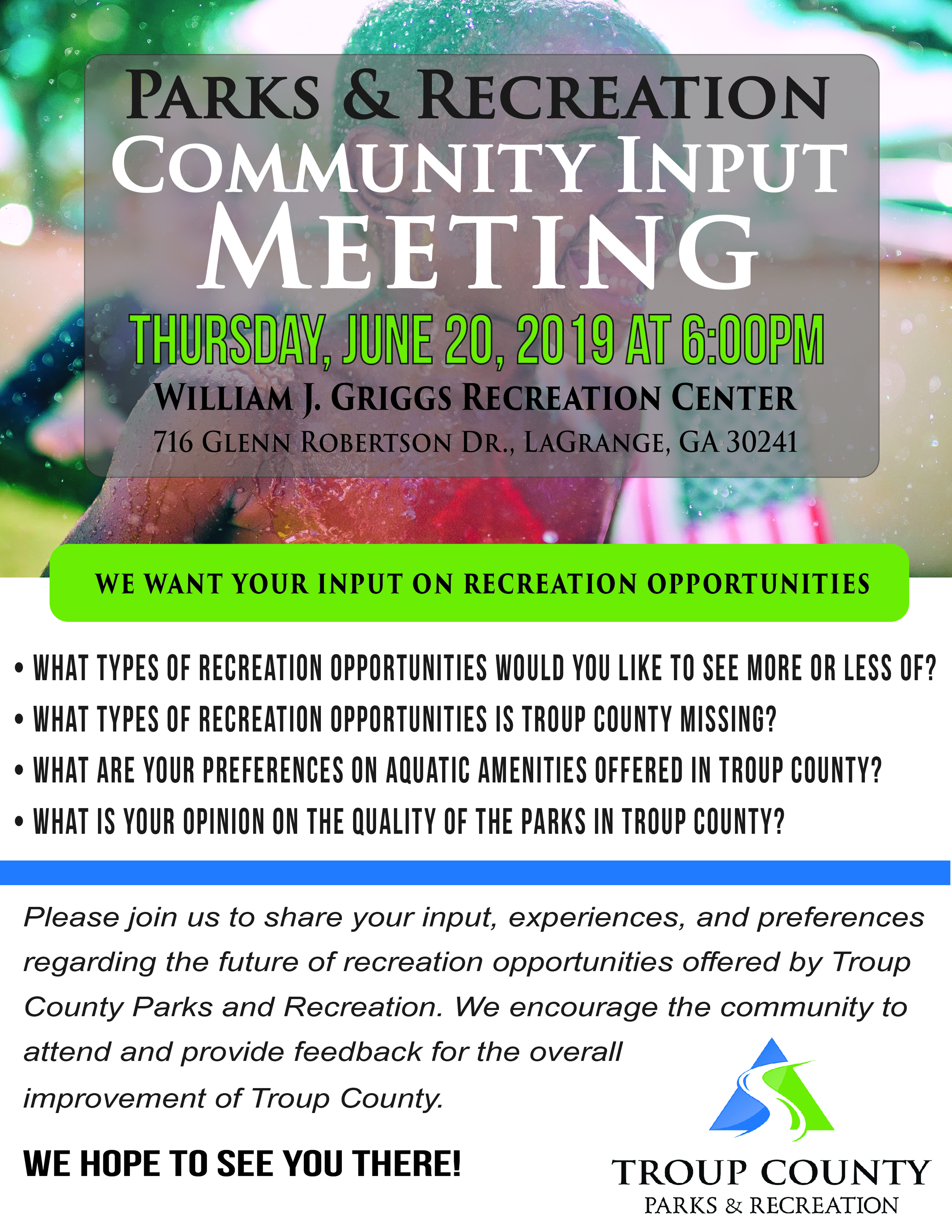 Community Input Meeting flyer