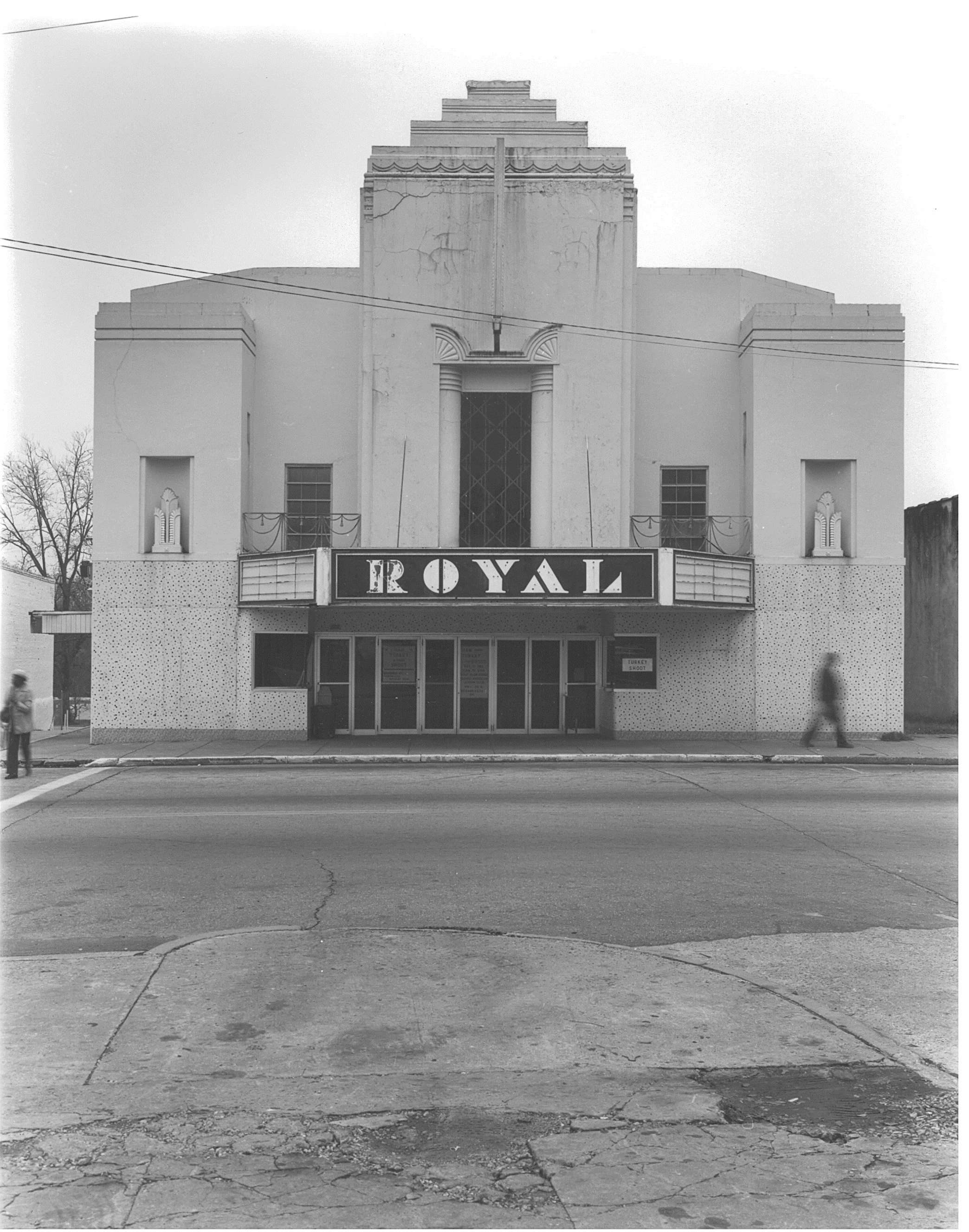 Historical image of Royal Theater Hogansville, GA provided by Troup County Archives circa 1980s